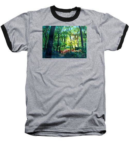 Baseball T-Shirt featuring the painting Forest Scene 1 by Kathy Braud