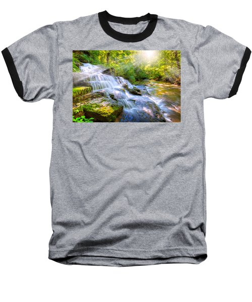 Forest Stream And Waterfall Baseball T-Shirt by Alexey Stiop