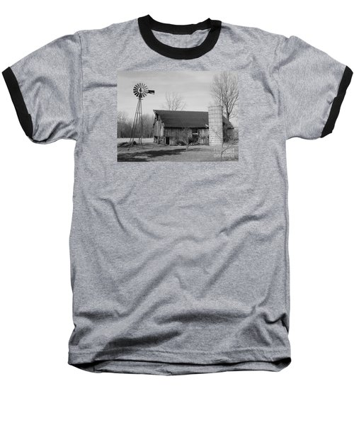 Forgotten Farm In Black And White Baseball T-Shirt by Judy Whitton