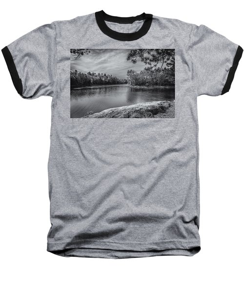 Baseball T-Shirt featuring the photograph Fork In River Bw by Mark Myhaver