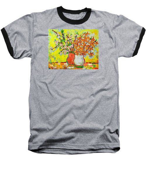 Forsythia And Cherry Blossoms Spring Flowers Baseball T-Shirt