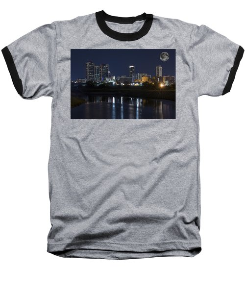 Fort Worth Skyline Super Moon Baseball T-Shirt by Jonathan Davison