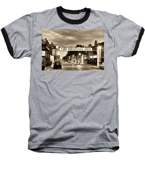 Fort Worth Stock Yards In Sepia Baseball T-Shirt
