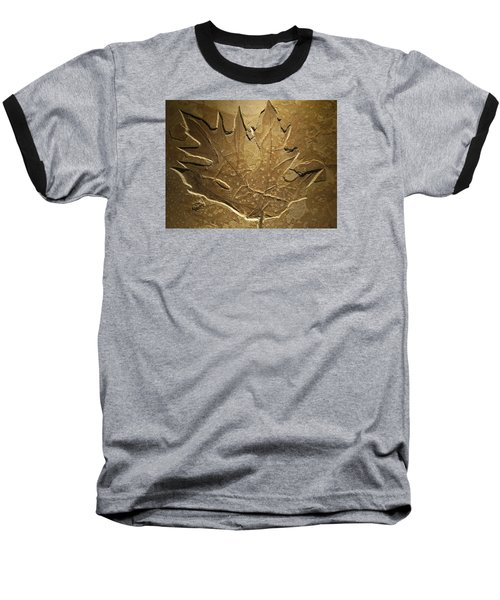 Fossilized Maple Leaf Baseball T-Shirt by Connie Fox