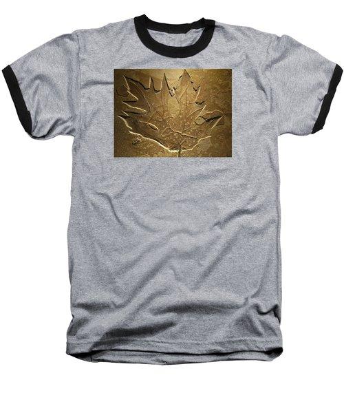 Fossilized Maple Leaf Baseball T-Shirt