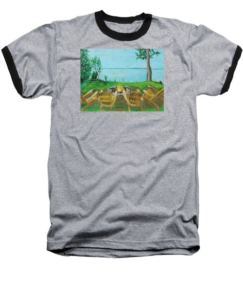 Baseball T-Shirt featuring the painting Four Chairs by Jeanne Fischer