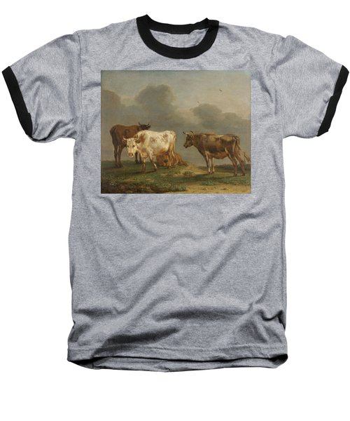 Four Cows In A Meadow Baseball T-Shirt