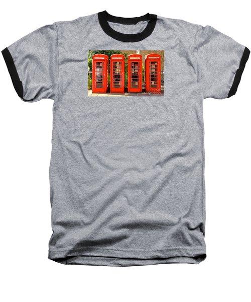 Four In A Row Baseball T-Shirt by David Warrington