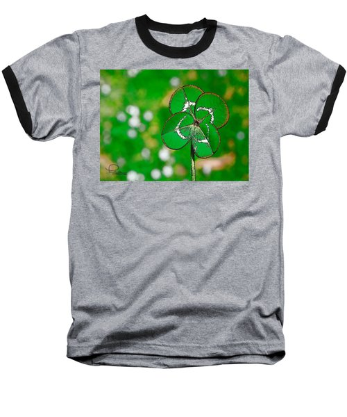 Baseball T-Shirt featuring the digital art Four Leaf Clover by Ludwig Keck