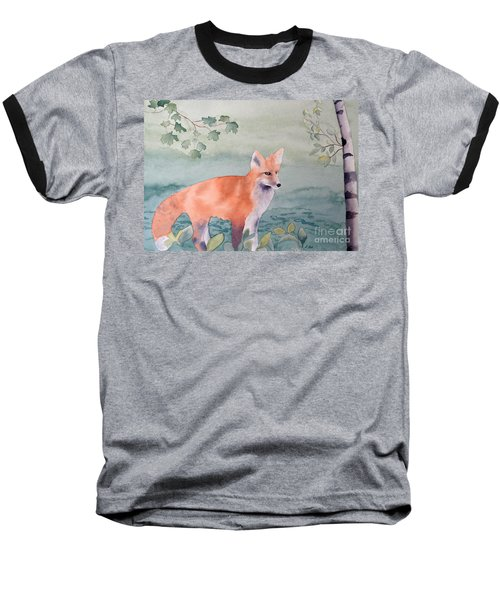 Fox And Birch Baseball T-Shirt by Laurel Best