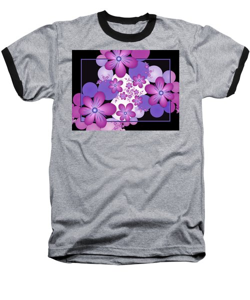 Fractal Flowers Modern Art Baseball T-Shirt
