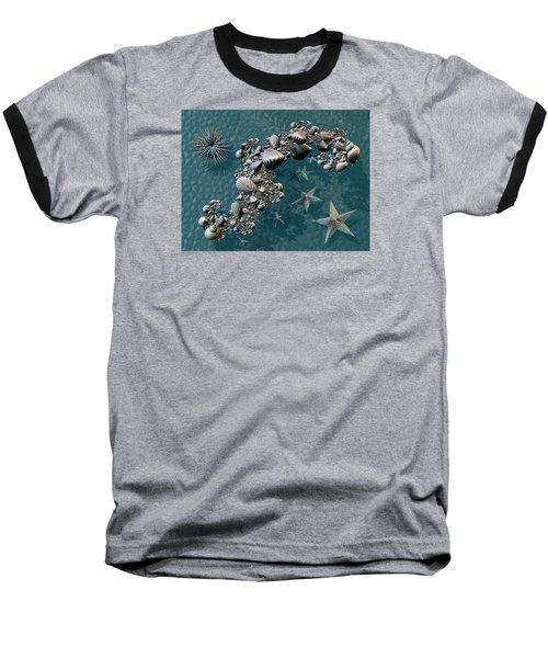 Baseball T-Shirt featuring the digital art Fractal Sea Life by Manny Lorenzo