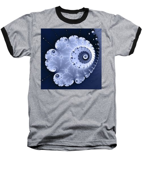 Fractal Spiral Light And Dark Blue Colors Baseball T-Shirt