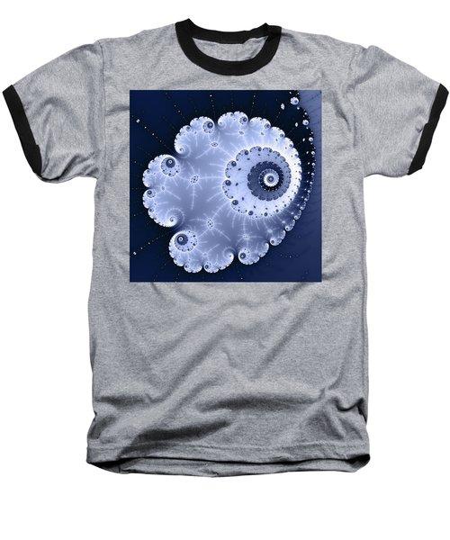 Fractal Spiral Light And Dark Blue Colors Baseball T-Shirt