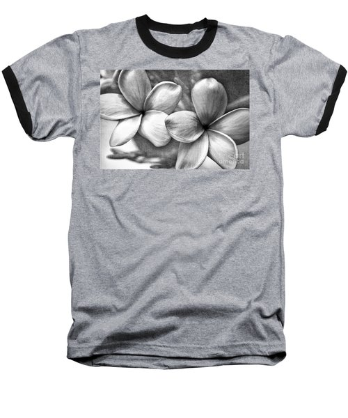 Baseball T-Shirt featuring the photograph Frangipani In Black And White by Peggy Hughes