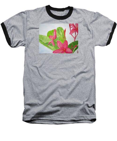 Frangipani Tree Baseball T-Shirt by Elvira Ingram
