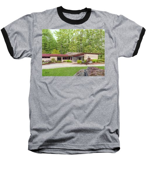 Baseball T-Shirt featuring the painting Frank Lloyd Wright At Duncan House by Albert Puskaric