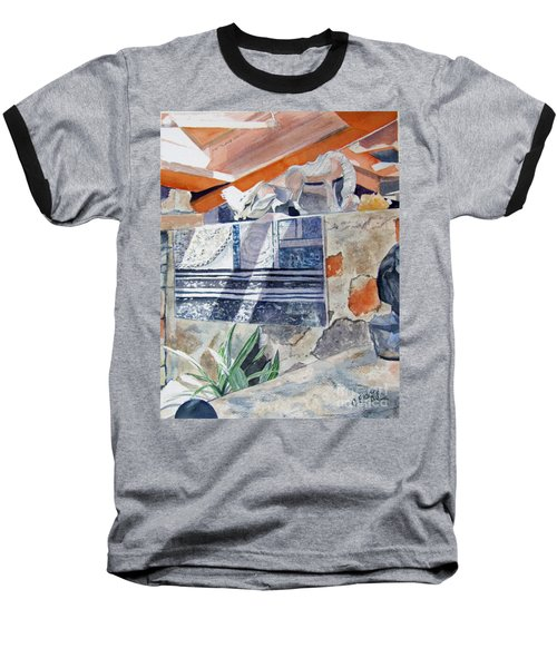 Baseball T-Shirt featuring the painting Frank Lloyd Wright Taliesin West 2 by Carol Flagg