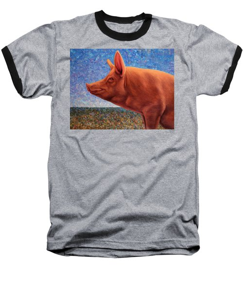 Free Range Pig Baseball T-Shirt by James W Johnson