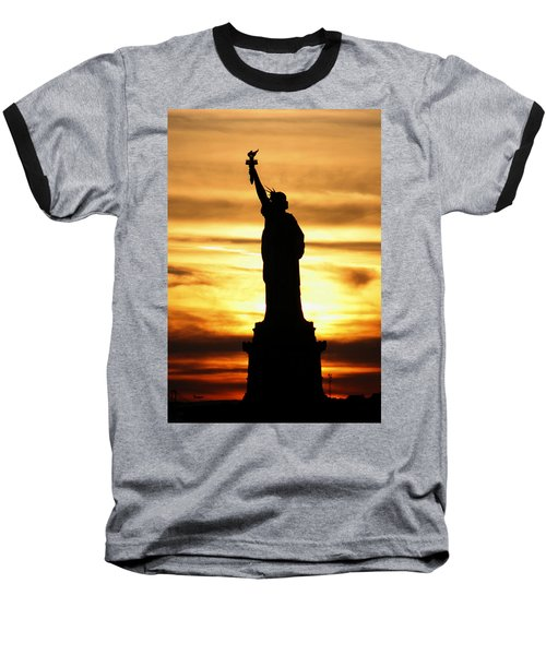 Statue Of Liberty Silhouette Baseball T-Shirt