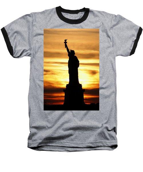 Statue Of Liberty Silhouette Baseball T-Shirt