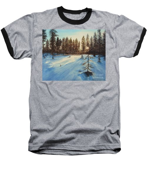 Baseball T-Shirt featuring the painting Freezing Forest by Martin Howard