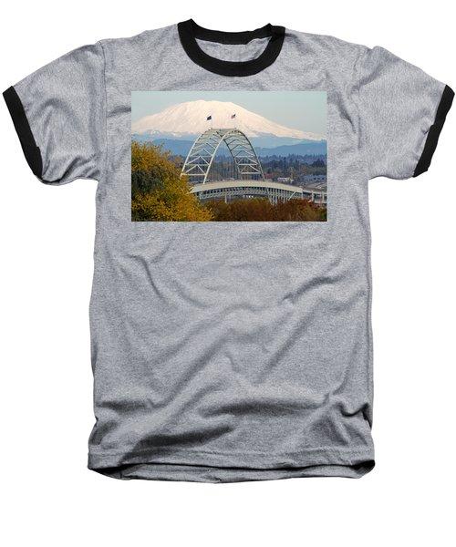 Fremont Bridge And Mount Saint Helens Baseball T-Shirt