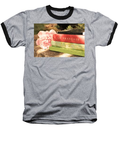 Baseball T-Shirt featuring the photograph French Books And Peony by Brooke T Ryan