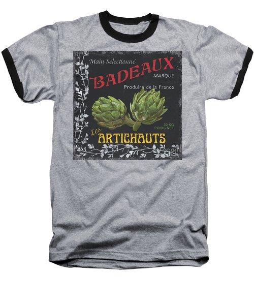 French Veggie Labels 1 Baseball T-Shirt by Debbie DeWitt