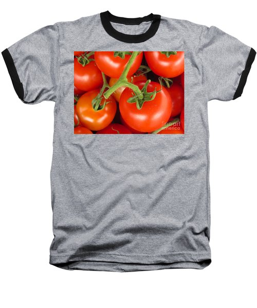 Baseball T-Shirt featuring the photograph Fresh Whole Tomatos On Vine by David Millenheft