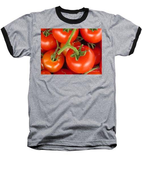 Fresh Whole Tomatos On Vine Baseball T-Shirt by David Millenheft