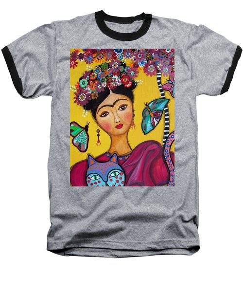 Frida Kahlo And Her Cat Baseball T-Shirt