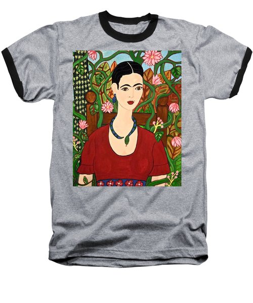 Frida With Vines Baseball T-Shirt by Stephanie Moore