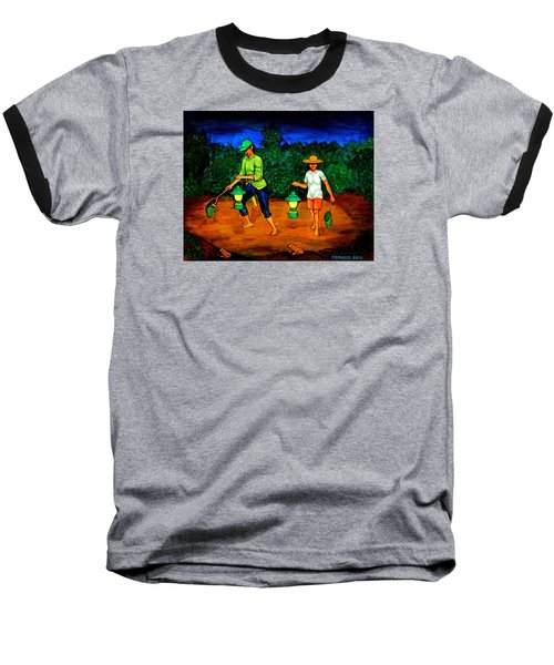 Baseball T-Shirt featuring the painting Frog Hunters by Cyril Maza