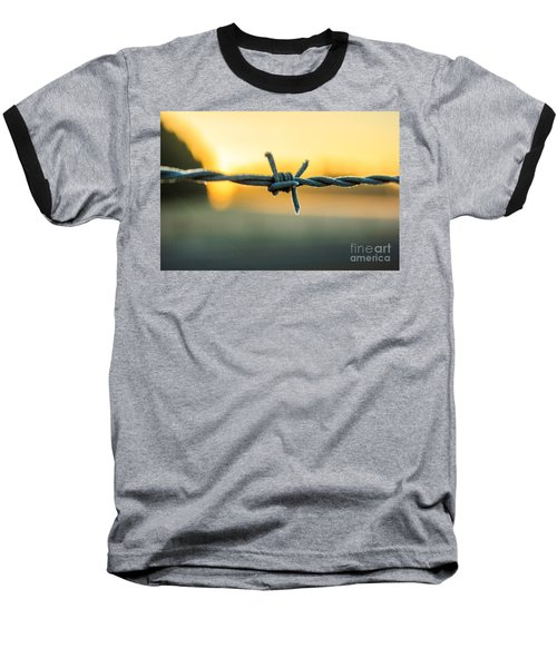 Frost On Barbed Wire At Sunrise Baseball T-Shirt