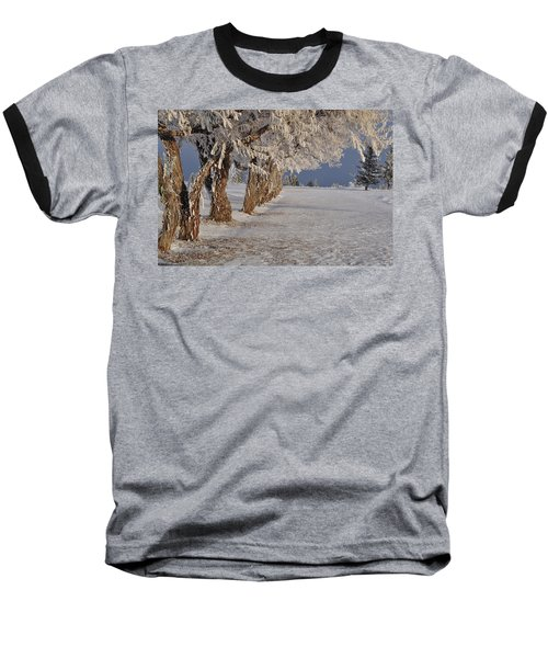 Baseball T-Shirt featuring the photograph Frosted Trees by Fran Riley