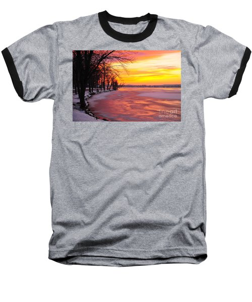 Baseball T-Shirt featuring the photograph Frozen Dawn At Lake Cadillac  by Terri Gostola
