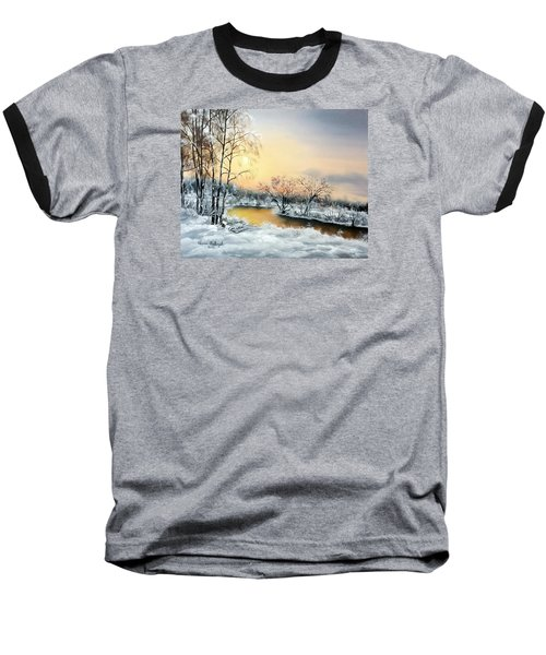 Baseball T-Shirt featuring the painting Frozen by Vesna Martinjak