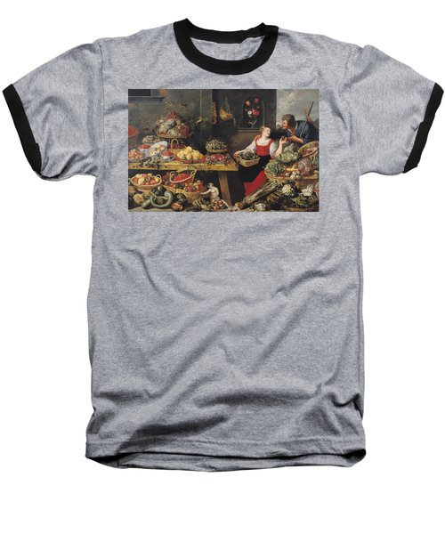 Fruit And Vegetable Market Oil On Canvas Baseball T-Shirt by Frans Snyders