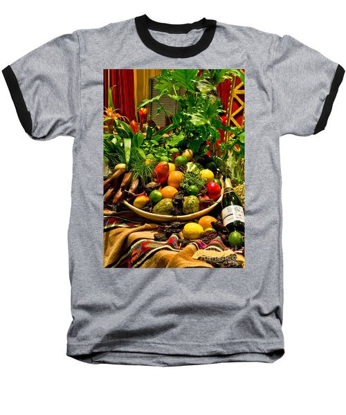 Baseball T-Shirt featuring the photograph Fruit And Wine by Mae Wertz