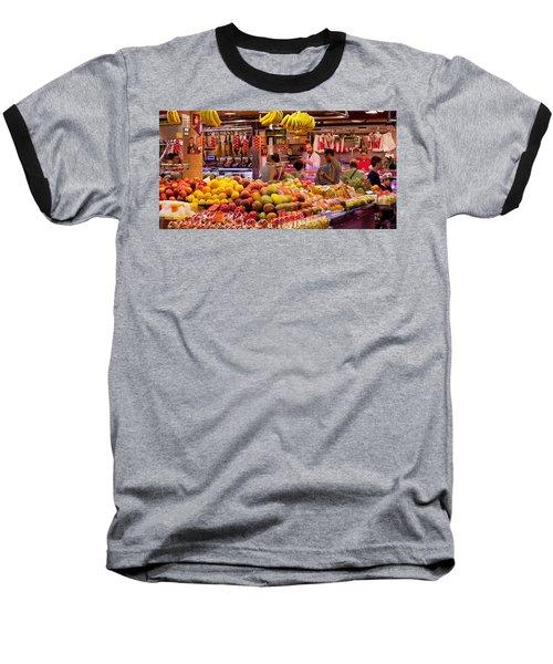 Fruits At Market Stalls, La Boqueria Baseball T-Shirt by Panoramic Images
