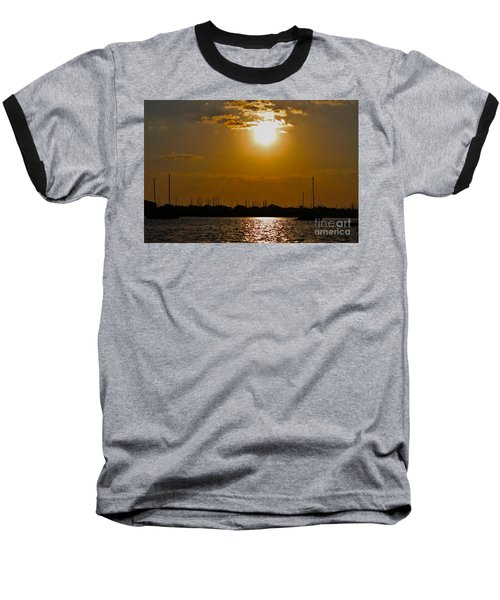 Baseball T-Shirt featuring the photograph Ft. Pierce Florida Docks At Dusk by Janice Rae Pariza