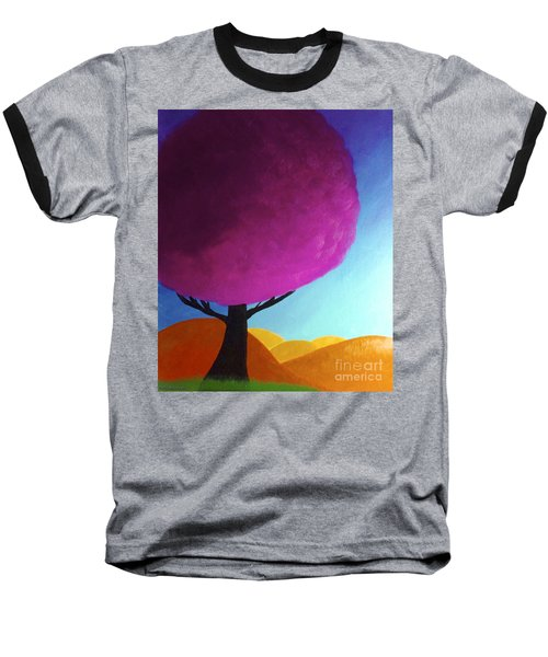 Baseball T-Shirt featuring the painting Fuchsia Tree by Anita Lewis
