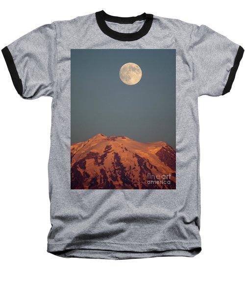 Full Moon Over Mount Rainier Baseball T-Shirt