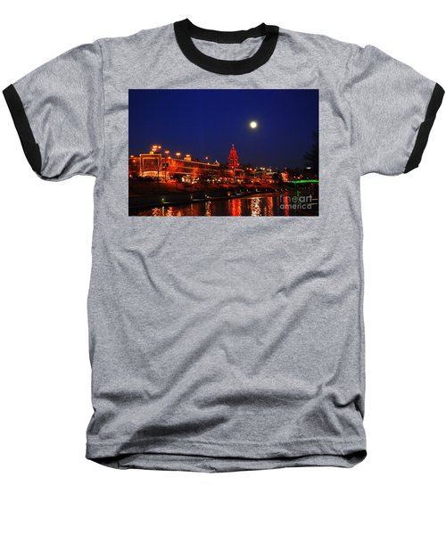 Full Moon Over Plaza Lights In Kansas City Baseball T-Shirt by Catherine Sherman