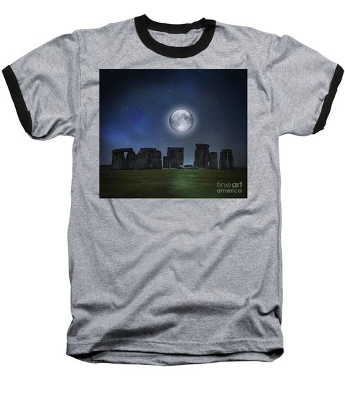 Full Moon Over Stonehenge Baseball T-Shirt