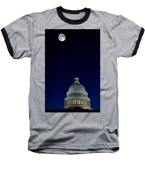 Full Moon Over Us Capitol Baseball T-Shirt by Lawrence Boothby
