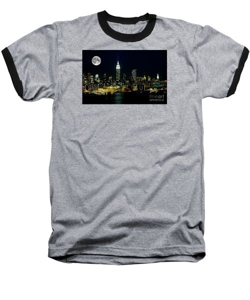 Full Moon Rising - New York City Baseball T-Shirt by Anthony Sacco