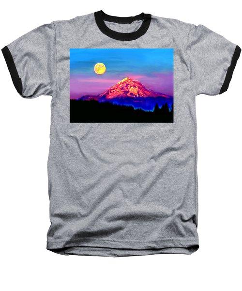 Full Moon Rising Over Mount Hood Oregon Baseball T-Shirt