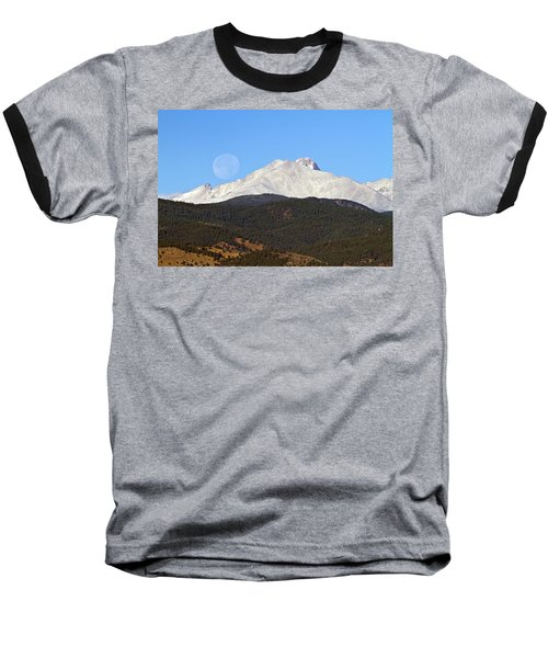 Full Moon Setting Over Snow Covered Twin Peaks  Baseball T-Shirt